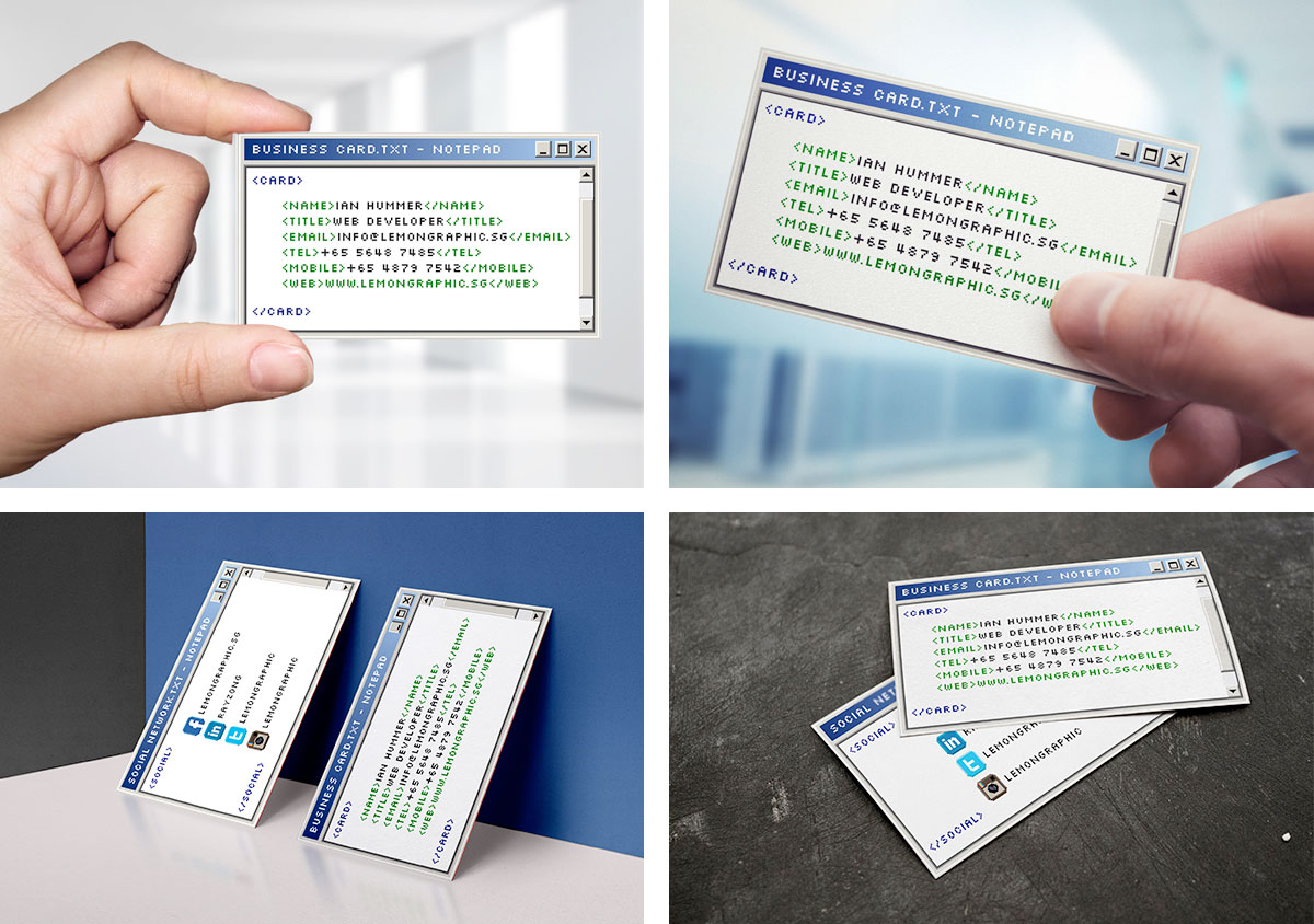 Windows Notepad Business Card