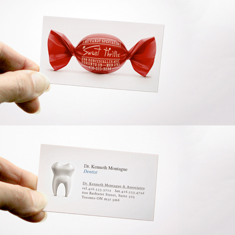 Dentist candy business card for Candy business cards