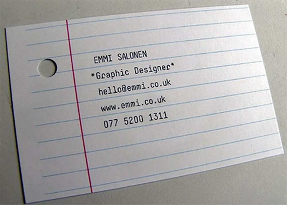 Lined Paper Business Card