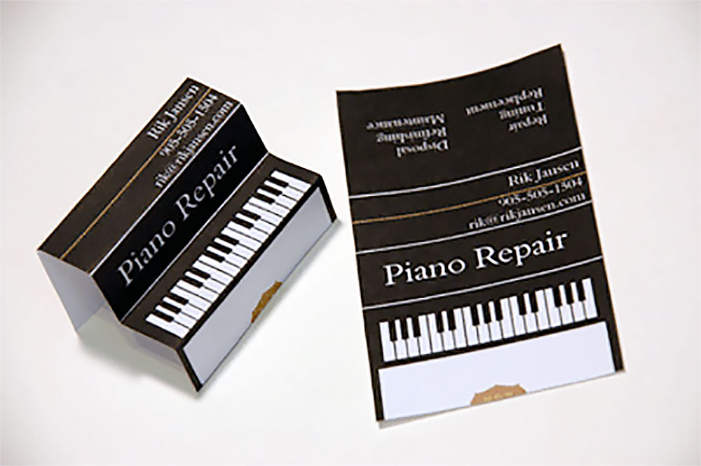 piano repair business card - 3 D Business Card